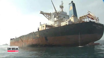 Freighter, oil tanker collision causes massive oil spill off Busan
