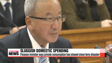 Finance minister says private consumption has slowed since ferry disaster