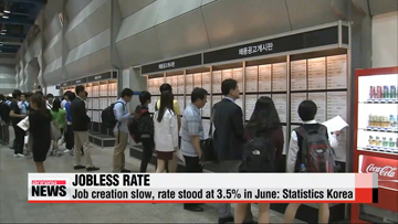 Korea's jobless rate stood at 3.5% in June: Statistics Korea