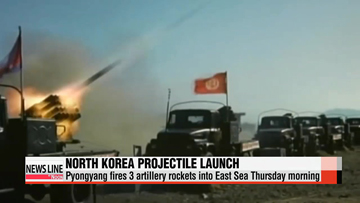 North Korea fires 3 artillery rockets into East Sea