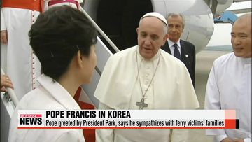 Pope Francis arrives in Korea, to meet with President Park Thursday