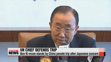 UN chief stands by China parade trip after Japanese concern