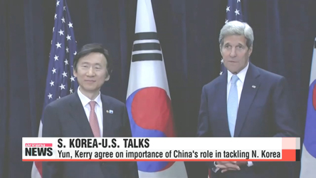 S. Korea, U.S. agree on importance of China's role in dealing with N. Korea