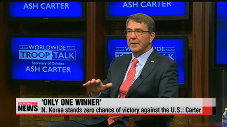 N. Korea stands zero chance of victory against the U.S.: Carter