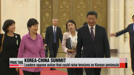 Leaders of Korea, China oppose action that escalates tensions on Korean peninsula