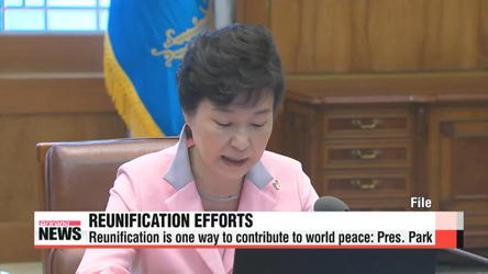 President Park says reunification is one way to contribute to world peace