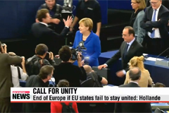 Germany, France plead for unity in face of EU crises