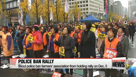 Seoul police ban farmers' association from holding rally on Dec. 5