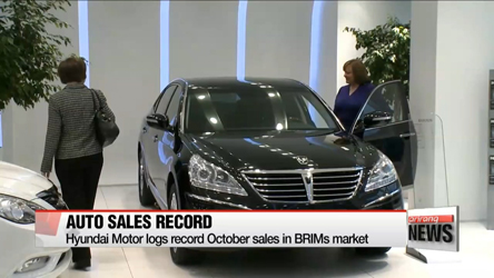 Hyundai Motor logs record October sales in BRIMs market