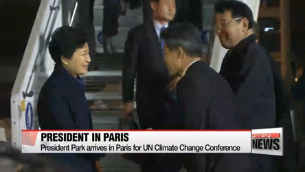 President Park arrives in Paris for global climate talks