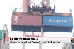 Korea's exports drop 4.7 percent on-year in November, improved from last month