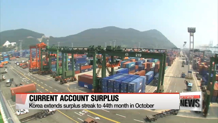 Korea extends surplus streak to 44th month in October
