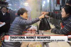Pres. Park visits traditional market ahead of Seollal holiday