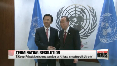 S. Korean FM calls for strongest sanctions on N. Korea in meeting with UN chief