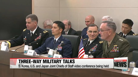 S. Korea, U.S. and Japan Joint Chiefs of Staff hold video conference talks on North Korea