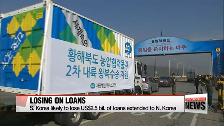 S. Korea likely to lose US$2.5 bil. of loans extended to N. Korea
