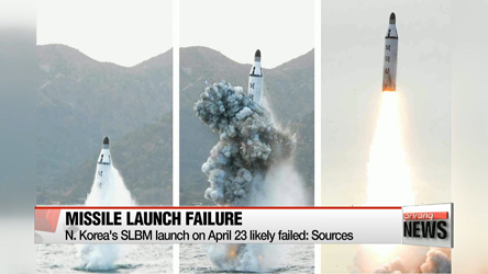 N. Korea's SLBM launch on April 23 likely failed: Sources