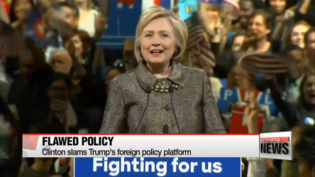 Clinton slams Trump's foreign policy platform