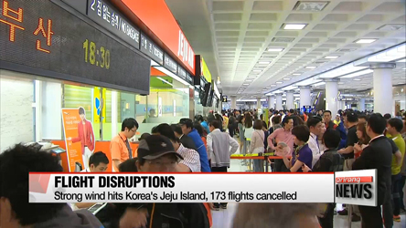 Strong wind hits Jeju Island, 173 flights cancelled