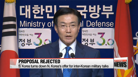 S. Korea turns down N. Korea's offer for inter-Korean military talks