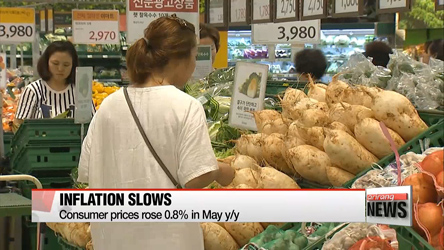 Korea's inflation rate slows in May due to plunging produce prices