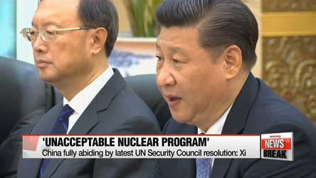 Xi reaffirms stance that China does not accept N.Korea as nuclear state