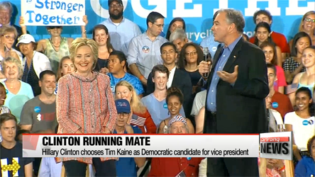 Clinton chooses Tim Kaine as Democratic candidate for VP