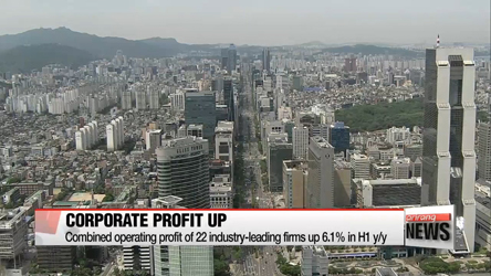 Korea's 22 industry-leading companies record 6.1% jump in combined operating profit in H1
