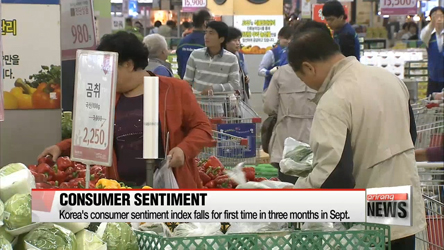 Korea's consumer sentiment index falls for first time in three months in Sept.