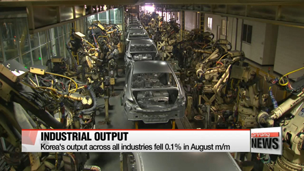 Korea's output across all industries fell 0.1% in August m/m