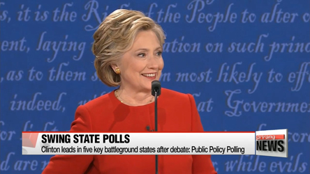 Clinton leads in five key battleground states after debate: Public Policy Polling