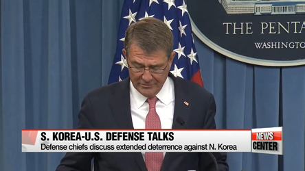 S. Korea, U.S. defense chiefs discuss extended deterrence against N. Korea