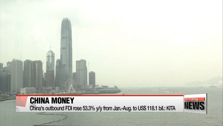 China's outbound FDI rose 53.3% y/y from Jan.-Aug. to US$ 118.1 bil.: KITA