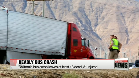 California bus crash leaves at least 13 dead, 31 injured