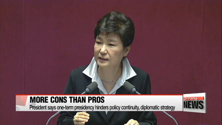 Pres. Park announces start of constitutional revision on presidential one-term limit