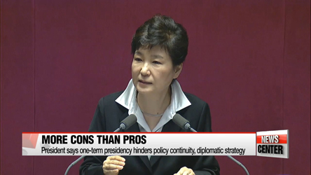 President Park announces start of constitutional revision on presidential one-term limit