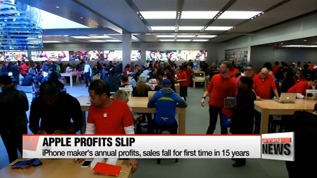 Apple's annual profits, sales fall for first time in 15 years