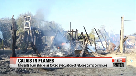 Migrants burn shacks as French authorities clear refugee camp