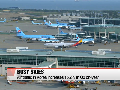 Air traffic in Korea increases 15.2% in Q3 on-year