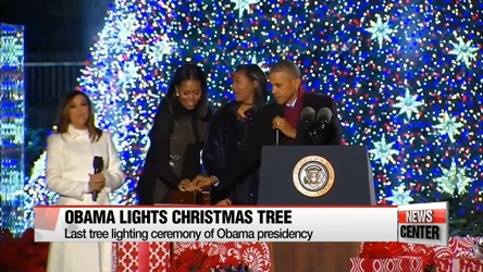 Obama lights national Christmas tree for last time