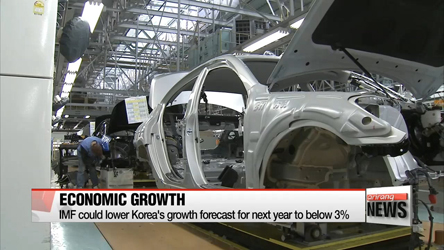 IMF could lower Korea's growth forecast for next year to below 3%