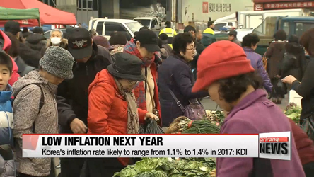Korea's inflation rate likely to range from 1.1% to 1.4% in 2017: KDI