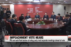 Pro, anti-Park faction of ruling party to hold separate meetings ahead of impeachment vote
