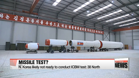 N. Korea likely not ready to conduct ICBM test: 38 North