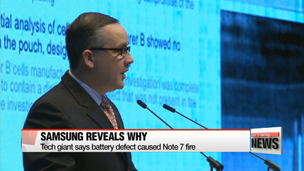 Samsung Electronics says battery defect was cause of Galaxy Note 7 fire