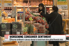 Korea's consumer sentiment in January slumps to lowest level since global financial crisis