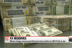 Korea's foreign exchange reserves post first rise in 4 months in Jan.