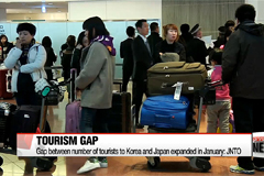 Gap between number of tourists to Korea and Japan expands