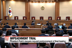 President Park Geun-hye's lawyers request final hearing to be postponed