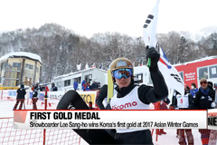 Snowboarder Lee Sang-ho wins Korea's 1st gold at the 2017 Sapporo Asian Winter Games